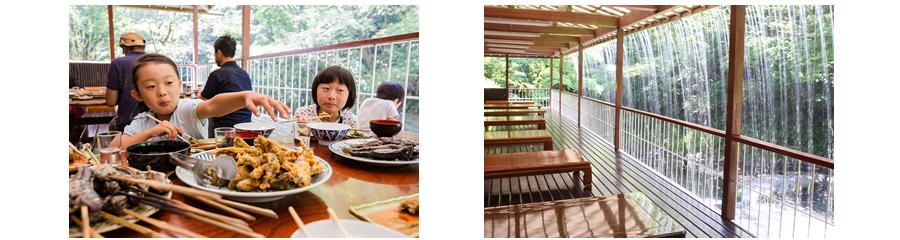 夏は人気のテラス席で釣りを眺めながらのお食事も可能です。